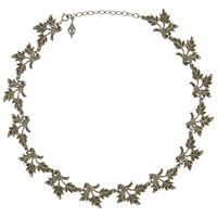 Eclectica Vintage 1950S Rhodium Plated Marcasite Leaf Necklace Silver