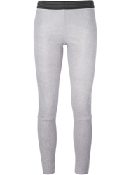 Drome Contrast Waist Band Leather Leggings Grey