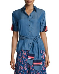 Tanya Taylor Jia Jia Chambray Short Sleeve Top Blue