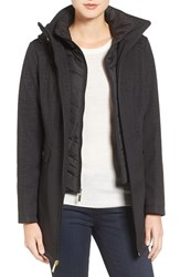 Ellen Tracy Women's A Line Soft Shell Jacket Black Print