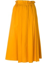 No21 Pleated Midi Skirt Yellow And Orange