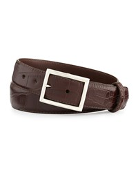 W.Kleinberg Matte Alligator Belt With 'Simple Rec' Buckle Chocolate Made To Order