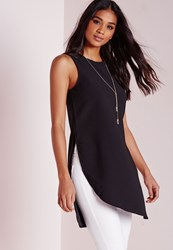 Missguided Asymmetric Longline Tunic Black