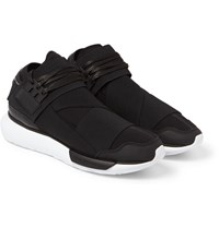 Y 3 Qasa Leather Trimmed Neoprene High Top Sneakers Black