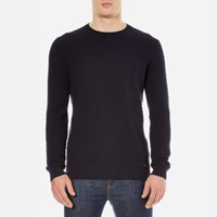 Hugo Men's Subon Textured Knitted Jumper Navy Blue