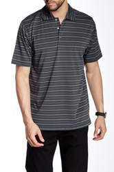 Lone Cypress Pebble Beach Striped Short Sleeve Polo Gray