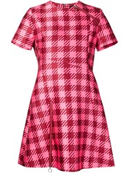 House Of Holland Gingham Check Flared Dress Pink And Purple