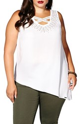Mblm By Tess Holliday Plus Size Women's Stud Neck Asymmetrical Blouse
