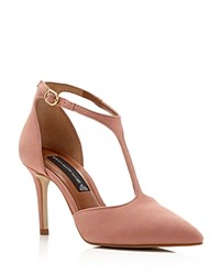 Steven By Steve Madden Saddlerr T Strap Pointed Toe Pumps Dusty Pink