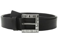 Michael Michael Kors 32Mm Veg Leather Buckle On Jeweled Baguette Buckle And Loop Black Women's Belts