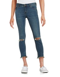 Free People Distressed Cropped Jeans Blue
