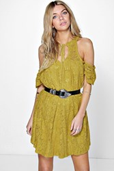 Boohoo Lace Cold Shoulder Swing Dress Olive