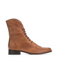 Manolita Lace Up Boots Brown