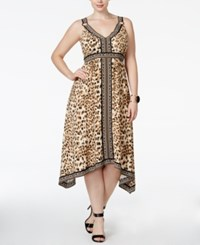Inc International Concepts Plus Size Leopard Print Fit And Flare Midi Dress Only At Macy's Caramel