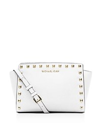 Michael Michael Kors Medium Selma Studded Messenger Crossbody Optic White