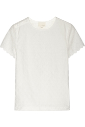 Band Of Outsiders Cotton Paneled Lace Top