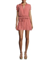 Tularosa Colleen Short Sleeve Tiered Mini Dress Peach Pink