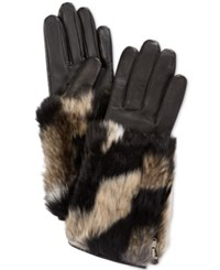 Charter Club Colorblock Faux Fur Cuff Leather Tech Gloves Only At Macy's Black Mult