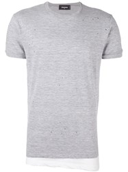 Dsquared2 Distressed Effect Draped T Shirt Grey