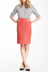 Gracia Quilted Faux Leather Pencil Skirt Red