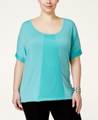 Jessica Simpson The Warm Up Plus Size Mesh Tee Beach Aqua