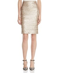 Alice Olivia Ramos Sequin Pencil Skirt Nude Pink