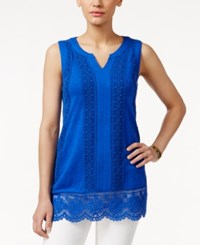 Charter Club Sleeveless Crochet Trim Top Only At Macy's Blazing Blue