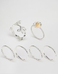 Asos Pack Of 6 Leaf And Daisy Rings Mixed Metal Multi
