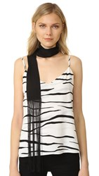 Diane Von Furstenberg Skinny Rectangle Fringe Scarf Black