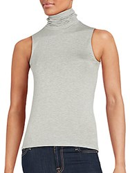Saks Fifth Avenue Black Stretch Jersey Turtleneck Charcoal