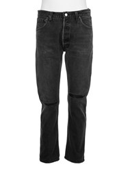 Re Done Slim Straight Jeans With Leather Repair Black