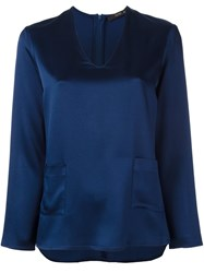 Etro Patch Pocket Blouse Blue