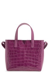 Vince 'Baby Signature V' Croc Embossed Tote Coral Peony