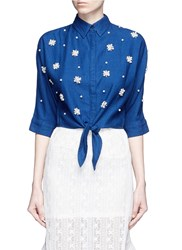 Mo And Co. Faux Pearl Embellished Tie Front Denim Shirt Blue