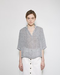 Apiece Apart Shirred Agata Top Small French Stripe