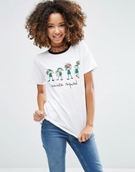 Asos Christmas T Shirt With Santa Squad Print White