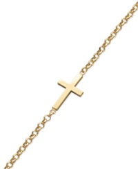 Studio Silver 18K Gold Over Sterling Silver Bracelet Sideways Cross Bracelet
