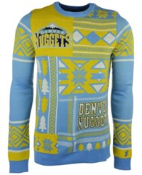 Forever Collectibles Men's Denver Nuggets Patches Christmas Sweater Light Blue Gold