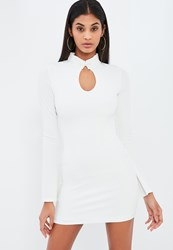 Missguided White Crepe High Neck Fitted Frog Fastening Mini Dress