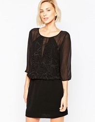 Selected Mesh 3 4 Sleeve Dress Black