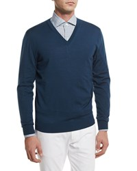Ermenegildo Zegna High Performance Wool Sweater Teal Blue