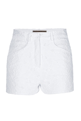Ermanno Scervino Embroidered Lace High Waisted Shorts