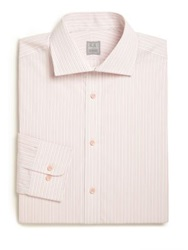 Ike Behar Regular Fit Striped Cotton Dress Shirt Coral Stripe