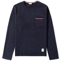 Thom Browne Long Sleeve Distressed Pocket Tee Blue