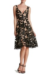 Dress The Population Women's 'Maya' Soutache Lace Fit And Flare Nude Black