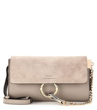 Chloe Faye Mini Leather And Suede Wallet Bag Grey
