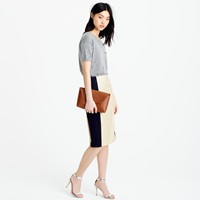 J.Crew Petite Colorblock Pencil Skirt In Super 120S Wool