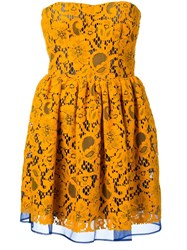 Msgm Embroidered Strapless Dress Yellow And Orange