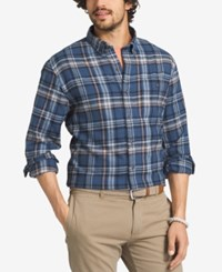 G.H. Bass And Co. Men's Plaid Flannel Long Sleeve Shirt Ensign Blue