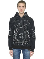 Dolce And Gabbana Hooded Flocked Cotton Blend Sweatshirt